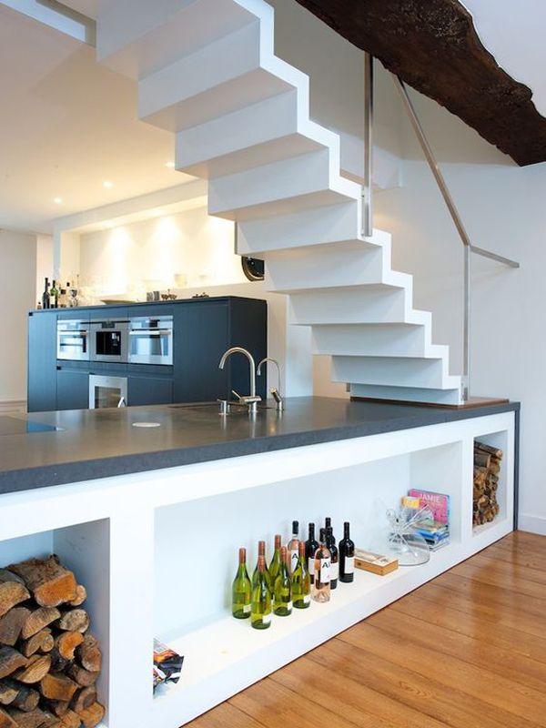 Modern Kitchen In Unique Understairs Escaleras Diseno De Cocina Escalera Casa