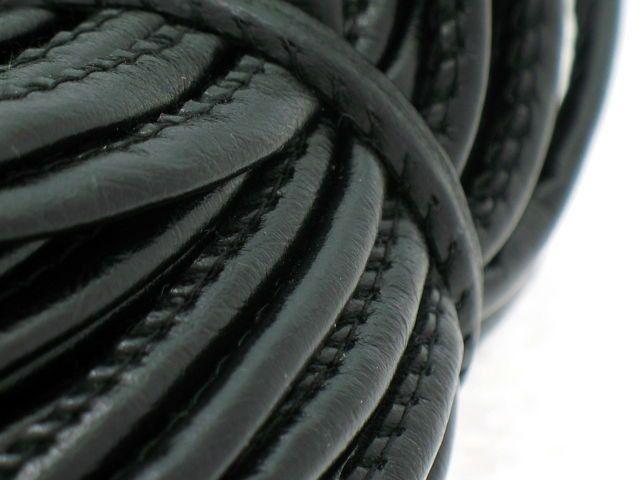 Rzemień Szyty Gładki Skóra Czarny 4mm 1m 1,00 zł - Półfabrykaty do biżuterii \ Bazy biżuteryjne \ Rzemienie \ Szyte - MarMon.com.pl