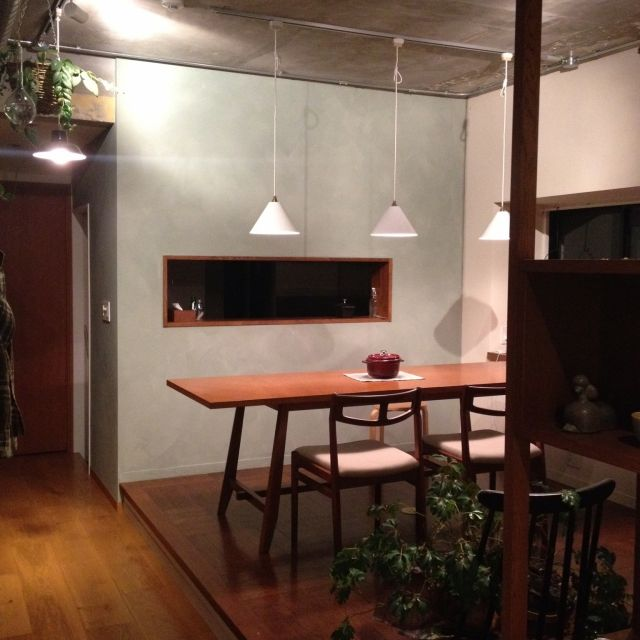 moimoiさんの、キッチン,観葉植物,夜,北欧,IDEE,北欧インテリア,ストウブ,北欧ヴィンテージ,リノベーション,ポーターズペイント,セルフペイント,しただけ,のお部屋写真