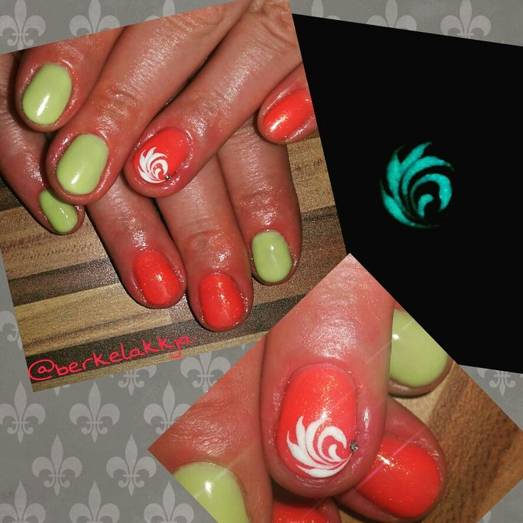 Fluorescent nails. Cnd Desert poppy.