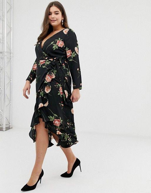 67777fbdd05 Fashion Union Plus wrap midi dress in oversize floral in 2019 ...