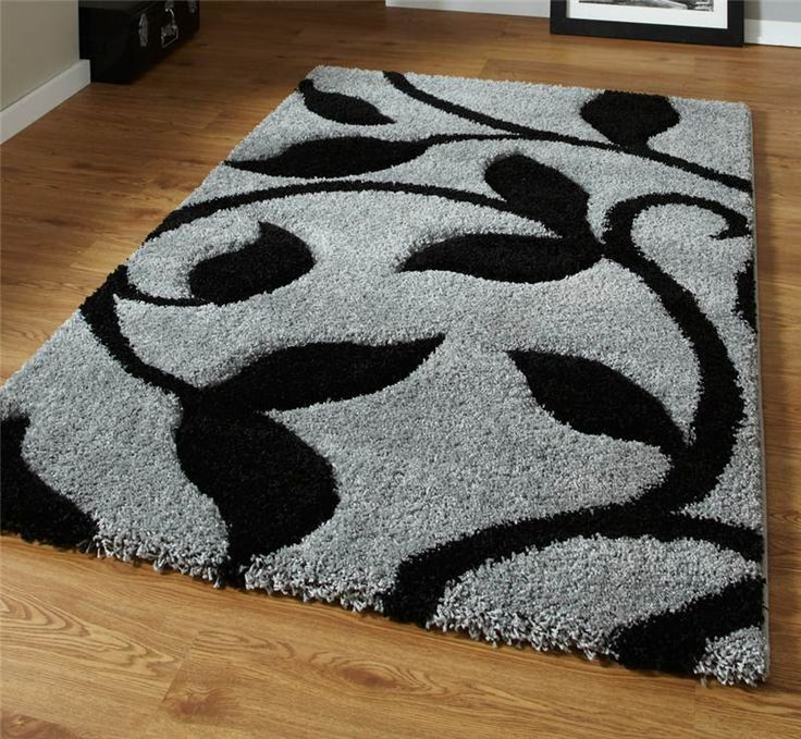 Grey and Black High Density Thick Pile Hand Carved Shaggy Rug in Home, Furniture & DIY | eBay