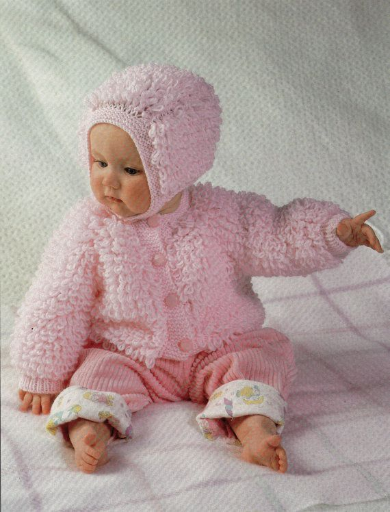 Baby Knitting Pattern Baby Loop Stitch Cardigan Bonnet Baby Loopy Jacket Hat ...