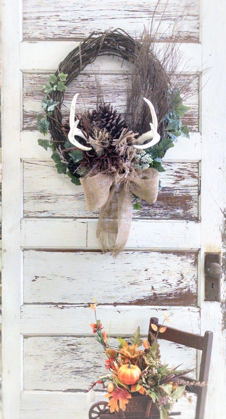 Deer Antler Wreath Antler Wreath Christmas Wreaths