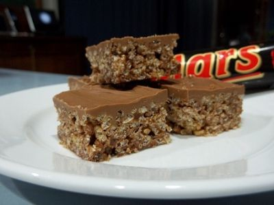 Mars bar slice. 4 Mars bars, 4cups rice bubbles. 90g butter. Melt &mix, push into slice tray. Melt quality eating chocolate as topping