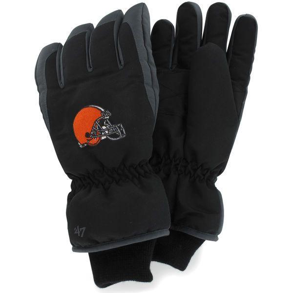 '47 Brand Cleveland Browns Historic Logo Youth Carve Ski Gloves - Black - $27.99