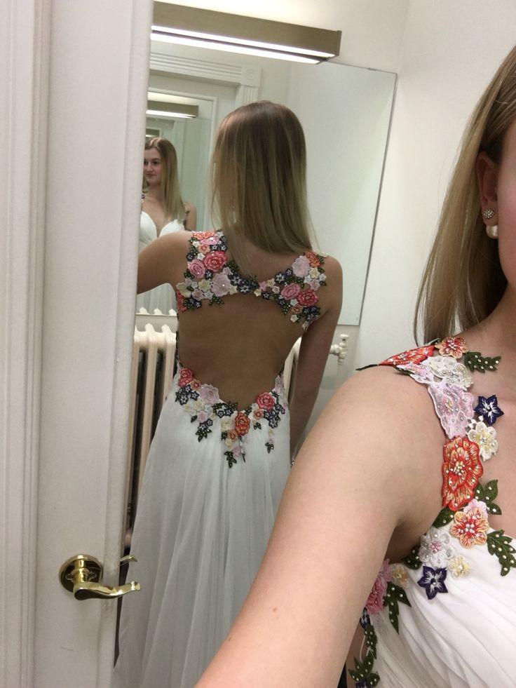 La femme long white open back floral design open back #promdress #floral #openback