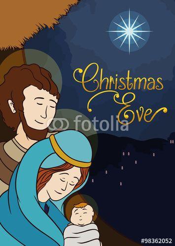 Beauty Holy Family Landscape, Vector Illustration