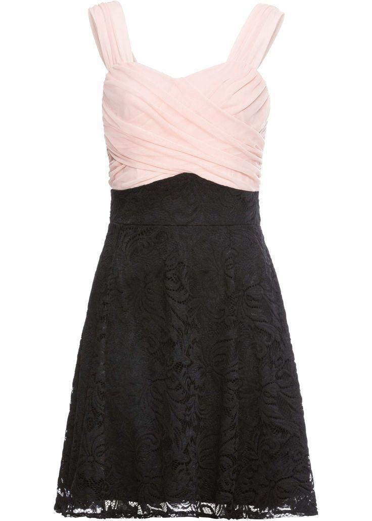 feminines kleid mit zartem spitzenrock rosa schwarz in 2021