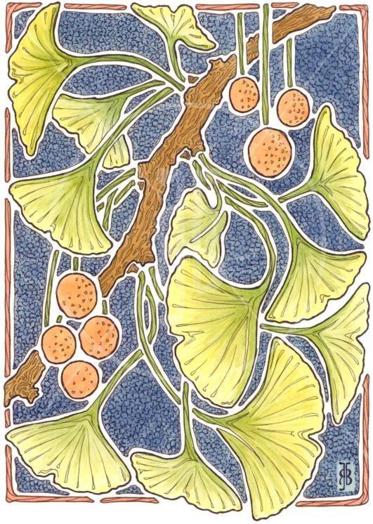 gingko art nouveau | Ginkgo art nouveau