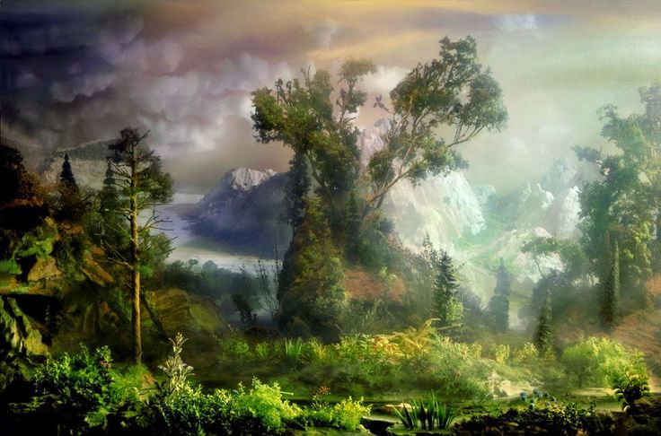 New York artist Kim Keever builds three-dimensional miniatures and places them in front of, inside or behind a six foot-long, 200 gallon glass tank filled with water. He then adds drops of paint to the water to create clouds and photographs the piece creating breathtaking scenes.