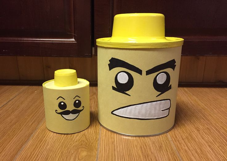 Lego man heads.  Coffee can and corn can