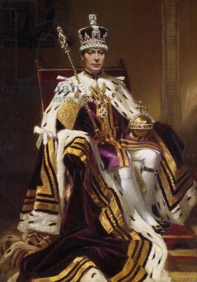 Portrait of H. M. King George VI, seated full length, in Coronation Robes, 1937