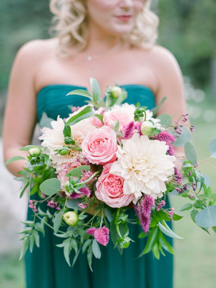 Bridesmaid bouquet of pink roses and dahlias ~ we ❤ this! moncheribridals.com