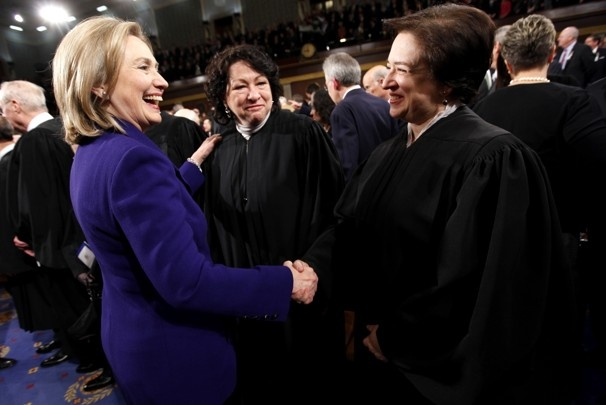 Clinton greets Supreme Court justices Elena Kagan, right, and Sonia Sotomayor before the 2011 State of the Union address.   Pablo Martinez Monsivais / AP