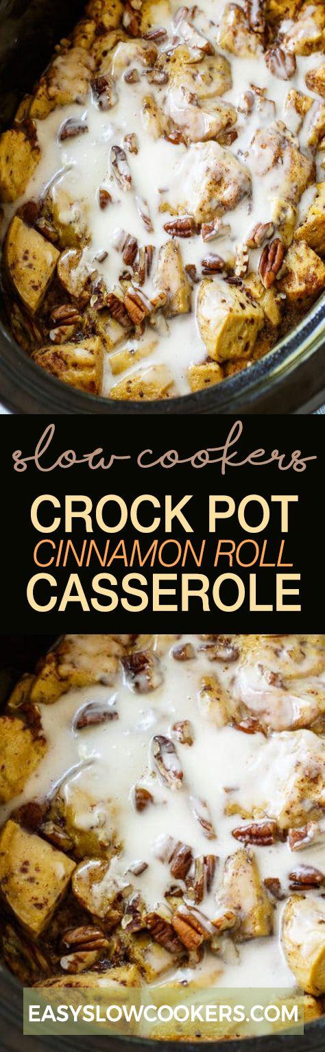 Crock Pot Cinnamon Roll Casserole - Slow cookers Recipes