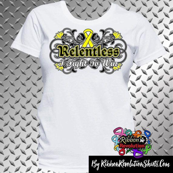 Yellow Ribbon Relentless I Fight to Win Shirts (Adenosarcoma, Endometriosis, Ewings Sarcoma, Osteosarcoma, Sarcoma, Spina Bifida)