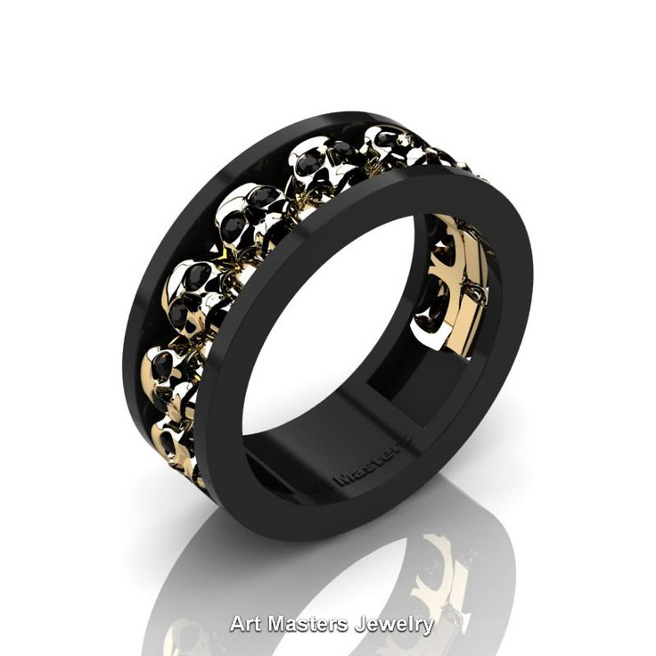 Mens Modern 14K Black and Yellow Gold Black Diamond Skull Channel Cluster Wedding Ring R913-14KBYGBD | Art Masters Jewelry