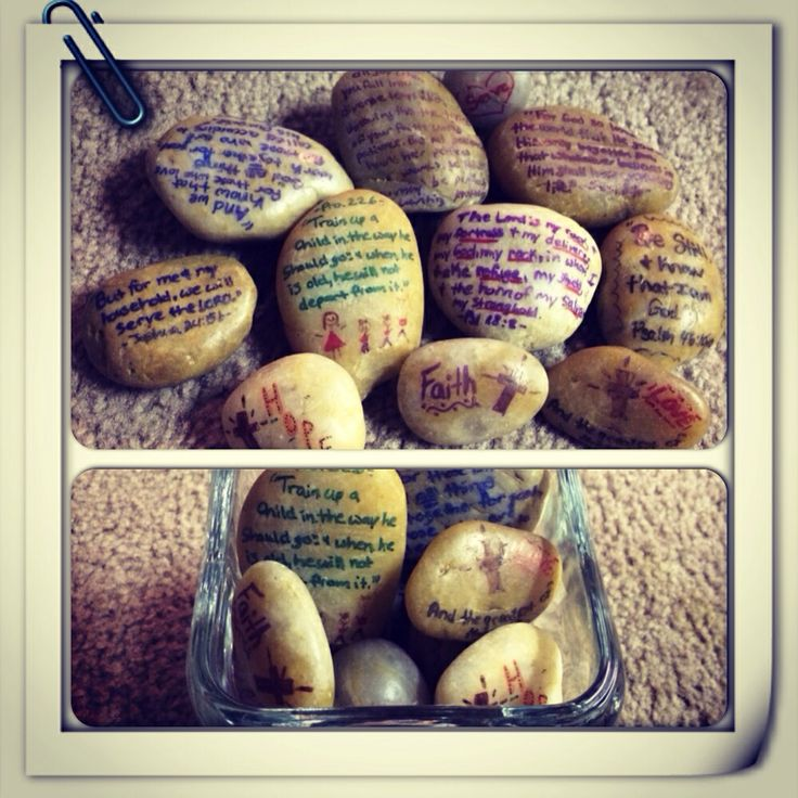 Inspirational stones: A cute way to display your favorite bible verses and inspiration words.
