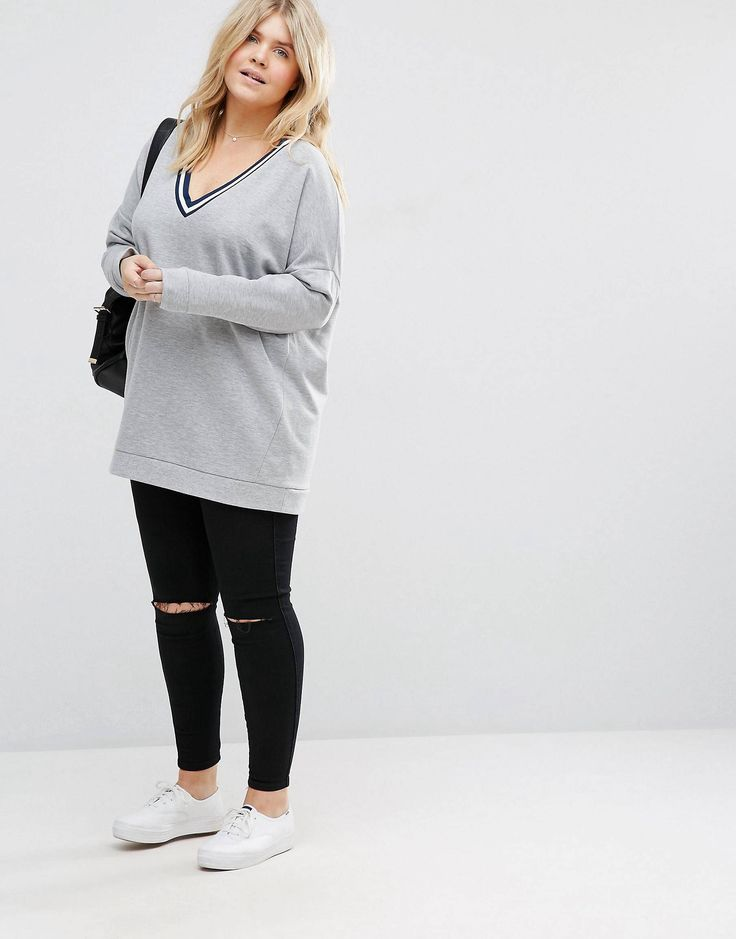 ASOS CURVE Sweatshirt with Stripe Tipping in Longline