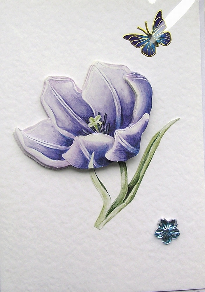 Blue Anemone Hand-Crafted 3D Decoupage Card - Blank for any Occasion (1491)