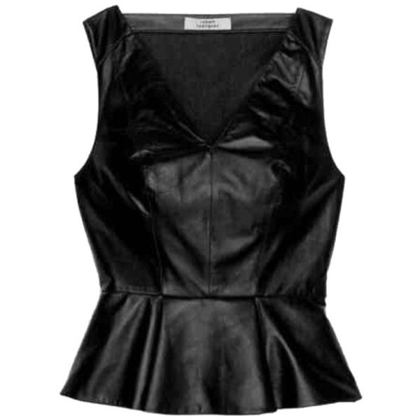 Pre-owned Robert Rodriguez Black Perforated Leather Peplum Top ($355) ❤ liked on Polyvore featuring tops, black perforated leather, black top, robert rodriguez, sexy tops, sexy leather tops and black peplum top