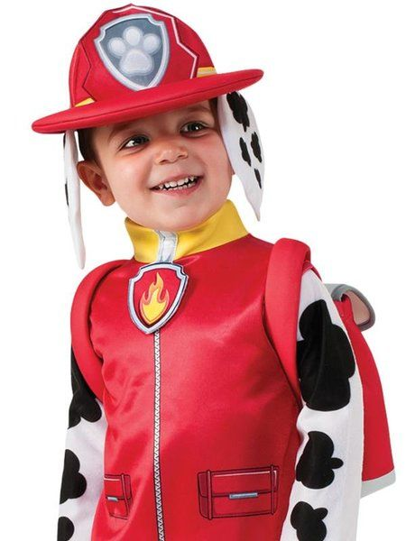 OFFICIALLY LICENSED PAW PATROL MARSHALL - TODDLER & CHILD COSTUME £20.00  This adorable, officially licensed costume from the nickelodeon TV show features a all-in-one jumpsuit with black Dalmation print and mock style red vest, red fireman style hat with attached puppy ears and a fully functional backpack for your little one to store all there treats.