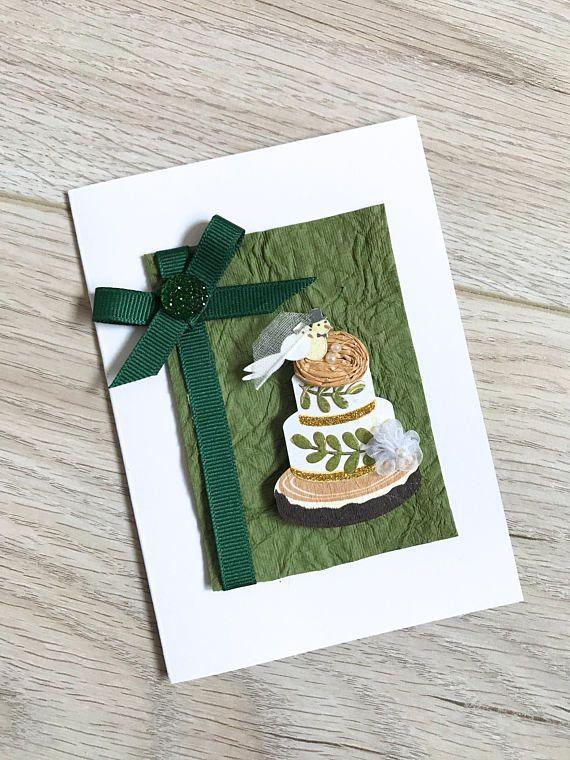 Wedding Card // Handmade Card // Green and White