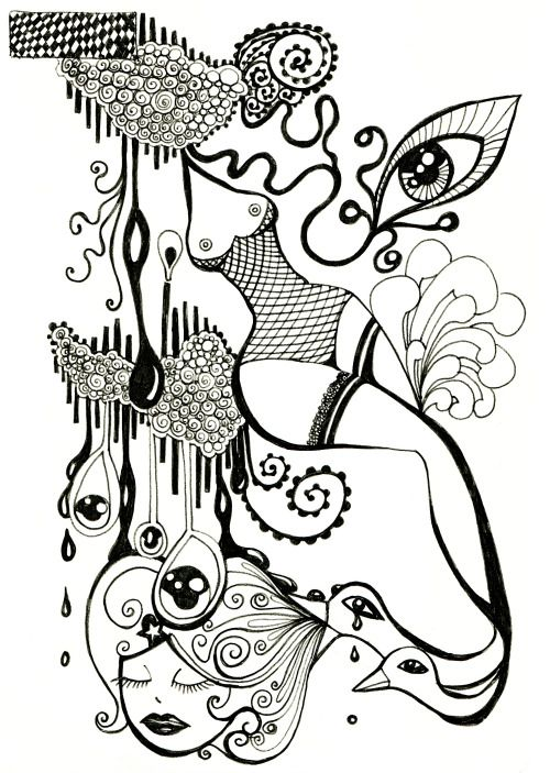 Drawing Imagination Absurd Blackpen© cherchelicorne