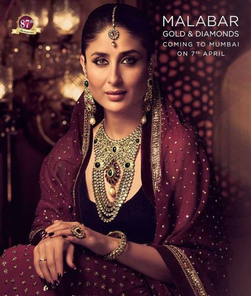 Kareena Kapoor as an Indian bride for Malabar Gold and Diamonds via IndianWeddingSite.com