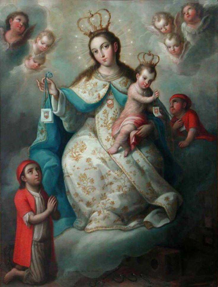 Una pintura mexicana de Nuestra Señora de la Merced, la patrona de los cautivos cristianos. El orden de la Santísima Virgen María de la Merced fue fundada en Barcelona en 1218 para lograr la liberación de los cristianos cautivos de los moros. Pintor Jose de Paez, 1775.