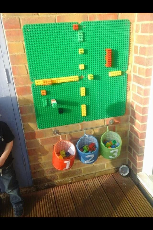 our duplo wall we use it to count on create patterns and just build