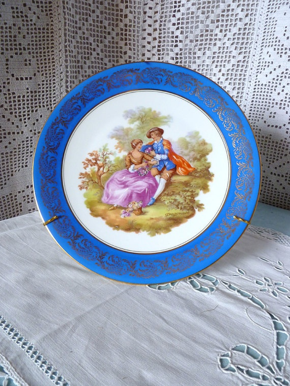 vintage french meissner limoges fragonard porcelain plate via etsy plates just plates. Black Bedroom Furniture Sets. Home Design Ideas