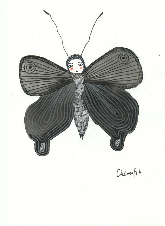 Little Moth 01 Original Illustration by 26Seeds on Etsy, $35.00