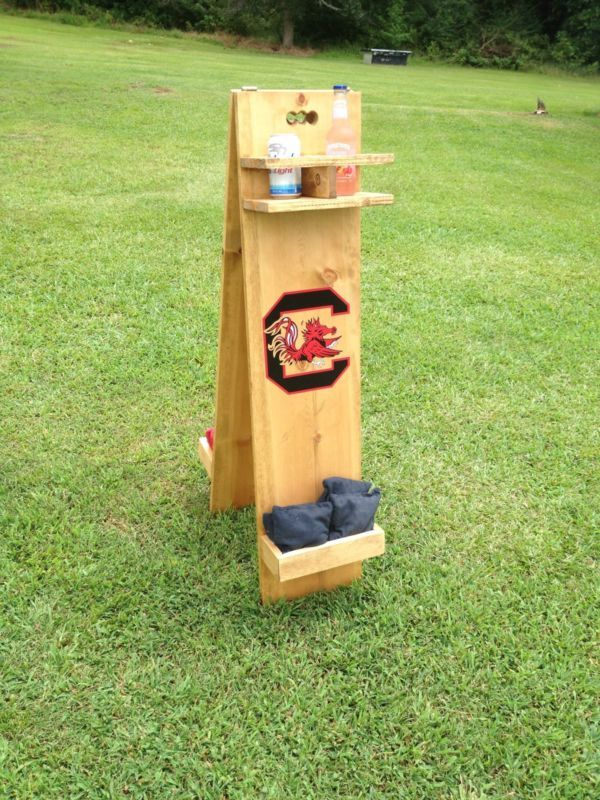 Cornhole Boards Score Tower Keeper With Drink Holder And Bag Storage