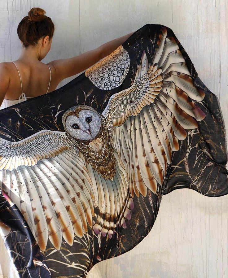 Barn Owl Bird Feather Wings Shawl - shovava in 2020 | Barn ...