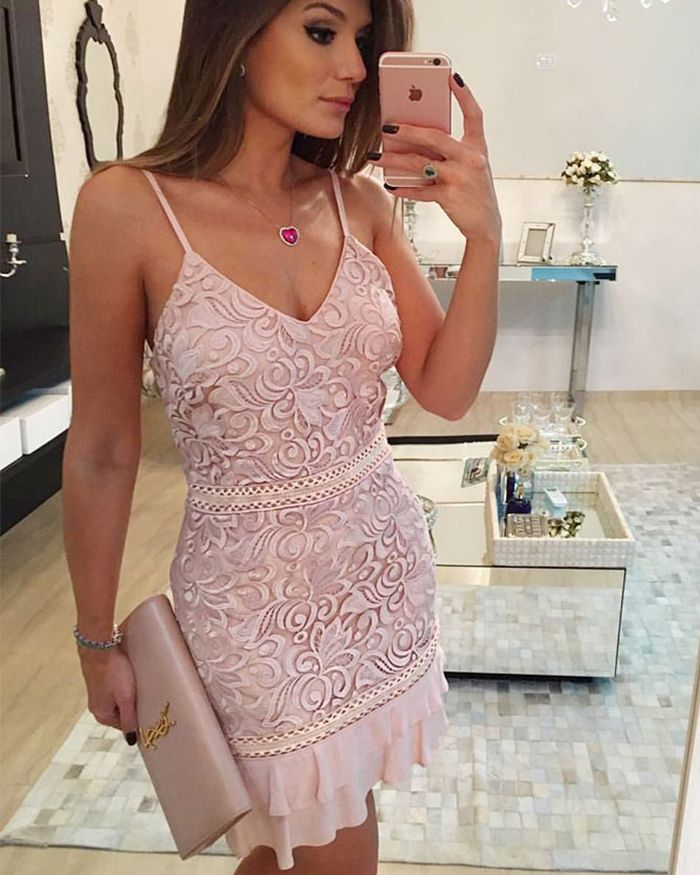 1abbab8a2713 spaghetti straps nude lace bodycon homecoming dress, tight layered short  party dress