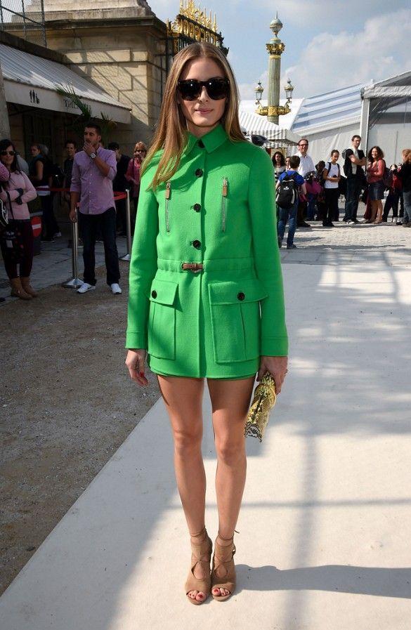 Olivia Palermo wears a green Valentino coat and Aquazzura heels. // #PFW