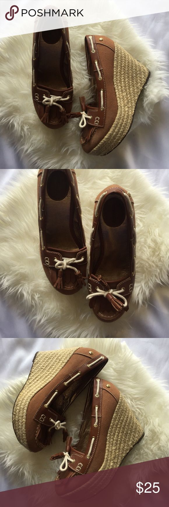 Sebago Women's Size 8 espadrilles Wedges Minor signs of wear Please See photos otherwise great pre-owned condition 4 in high Sebago Shoes Wedges
