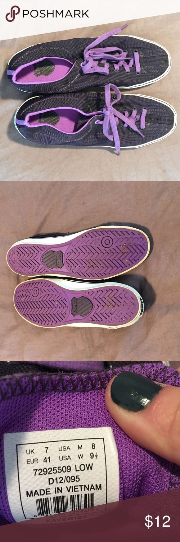 K-Swiss purple tennis shoes size 9.5 Women's size 9.5 deep purple tennis shoes.  Hardly worn, these have been in storage for a while.  Just want to get rid of these please make an offer K-Swiss Shoes Athletic Shoes