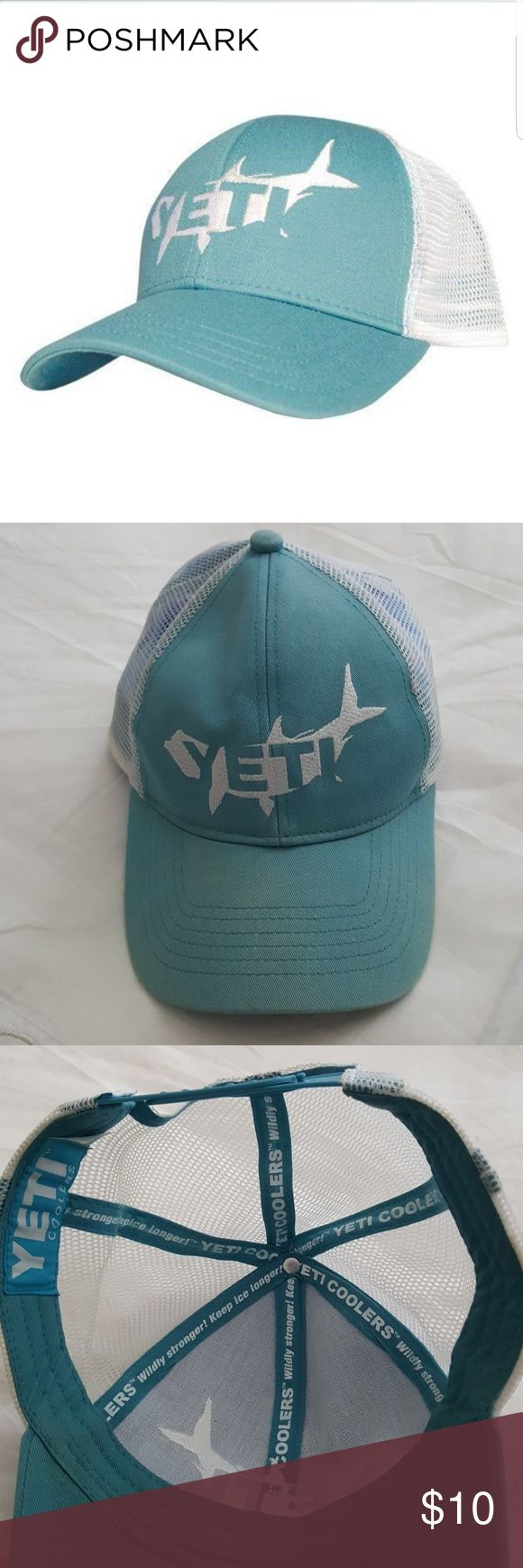 Yeti Tarpon Trucker snapback hat Yeti hat in light blue with snapback. Hat is used with slight color fade. Price reflects. Yeti Accessories Hats