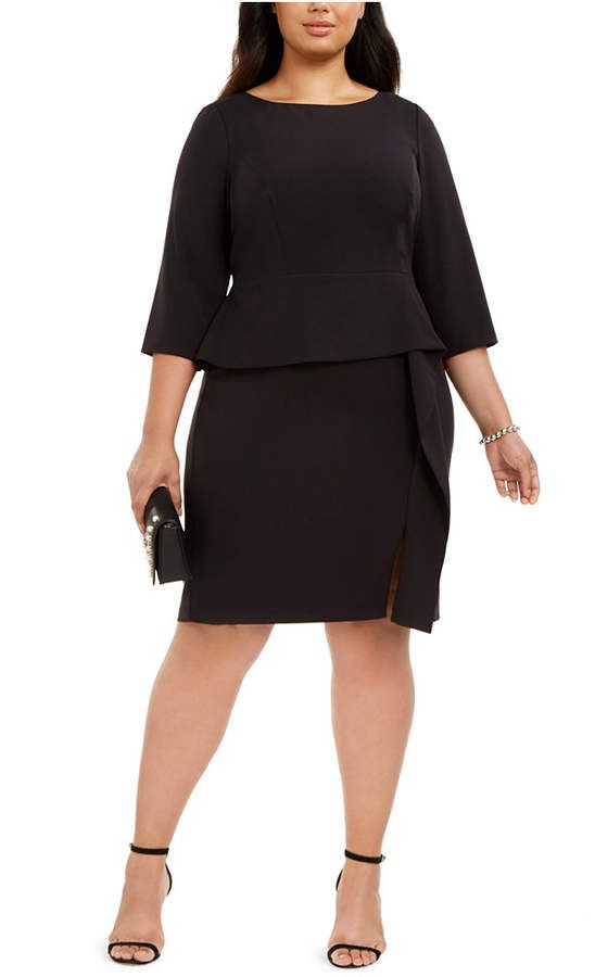 Plus Size Ruffled Peplum Sheath Dress