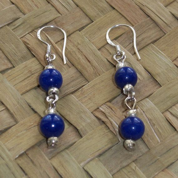 Blue Lapis Lazuli Earrings with Sterling Silver by OceanicBeads, $19.00