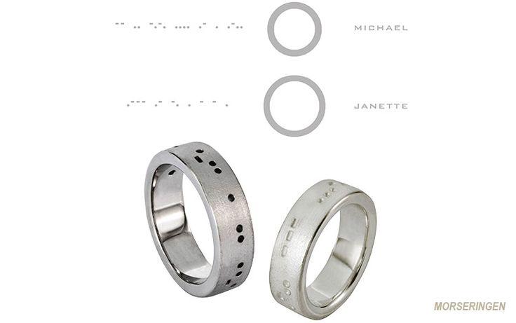 Morsecode ring met de naam van je lief in morsetekens. Als dat geen speciale trouwring is! Op de foto zie je beide variaties van de ringen met morse code. De morsecode trouwringen zijn er in goud, edelstaal of zilver.