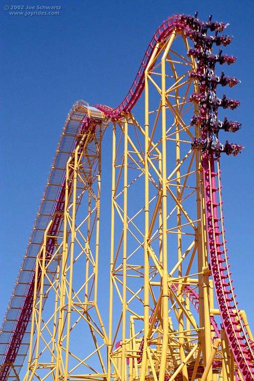 X2 is a roller coaster in Magic Mountain. It has a vertical drop and one of the best roller coasters in the park.