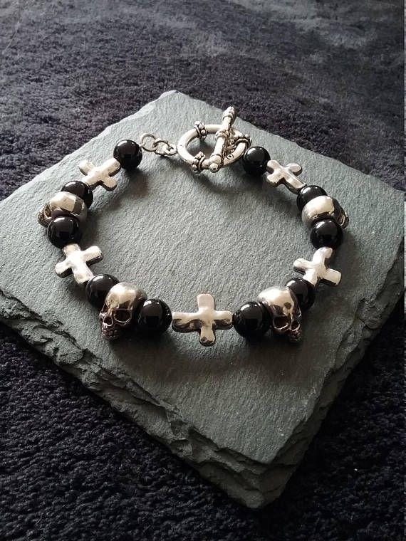 Mens Large Silver Skull Cross & Black Agate Gemstone Bracelet