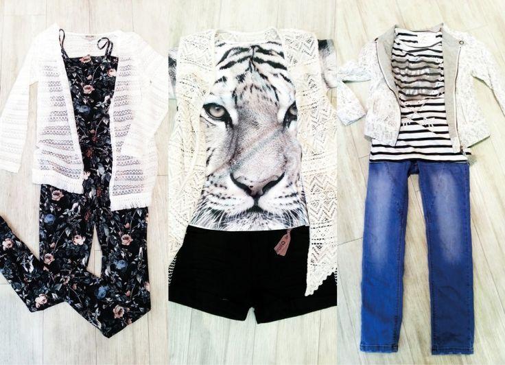 How to wear #LACE - Spitze für Kids: v.l.: Spitzencardigan & Jumpsuit mit Blumenprint: Garcia - Spitzenweste & Shorts mit Strickapplikationen: Jette by Staccato - T-Shirt mit Animal Print: Little Pieces - Jäckchen mit Spitzenbesatz & Ringelshirt mit Print: Jette by Staccato - Jeans: s.Oliver #kids #fashion #stylingtutorial