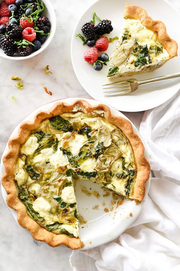 Spinach Artichoke and Goat Cheese Quiche