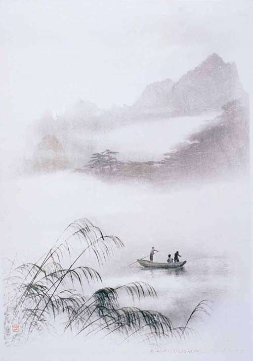 Boating on Misty River, 郎静山 / Lang Jingshan. Chinese Photographer (1892 - 1995)