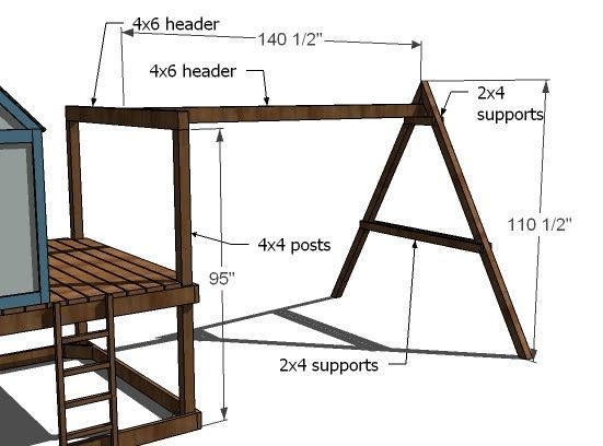 Ana White   Build a How to Build a Swing Set for the Playhouse!   Free and Easy DIY Project and Furniture Plans
